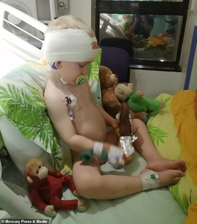 Jack, pictured after his biopsy operation, would scream in the night - but his parents thought he was having nightmares
